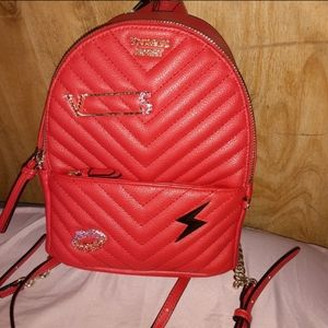 Victoria's Secret Red Leather Mini Backpack NWT